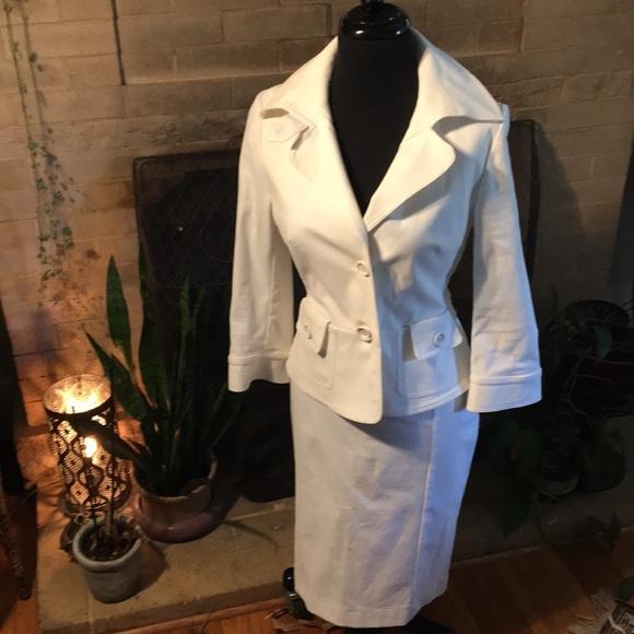 Carla G Jackets & Blazers - Italian Fitted White Skirt Suit
